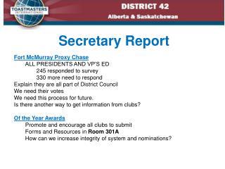 Secretary Report