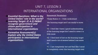 Unit 7, Lesson 3 International organizations