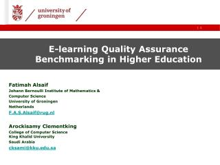 E-learning Quality Assurance Benchmarking in Higher Education