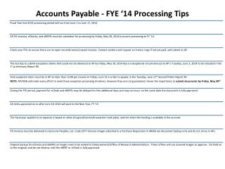 Accounts  Payable  - FYE  '14 Processing Tips
