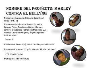 NOMBRE DEL PROYECTO : MARLEY CONTRA EL BULLYNG