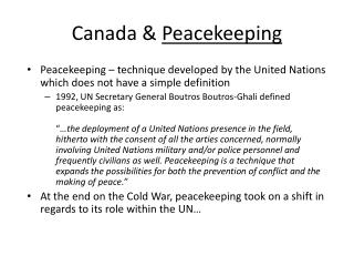 Canada &  Peacekeeping
