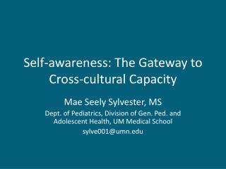 Self-awareness: The Gateway to Cross-cultural Capacity