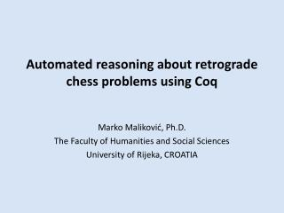 Automated  reasoning about retrograde chess problems using Coq