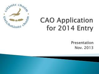 CAO Application  for 2014 Entry