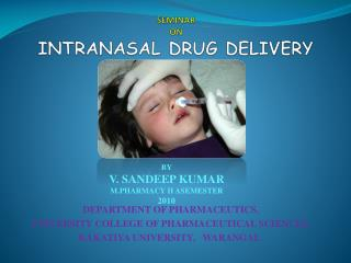 SEMINAR  ON intranasal drug delivery
