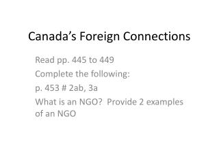 Canada's Foreign Connections