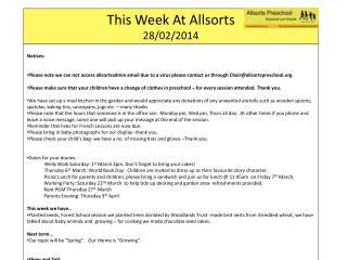 This Week At  Allsorts 28/02/2014