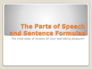The Parts of Speech and Sentence Formulas