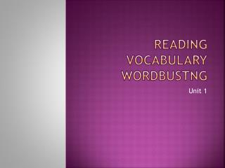 Reading Vocabulary Wordbustng