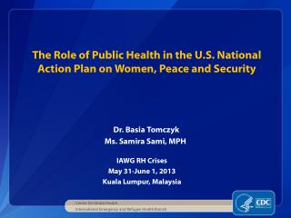 The Role of Public Health in the U.S. National Action Plan on Women, Peace and Security