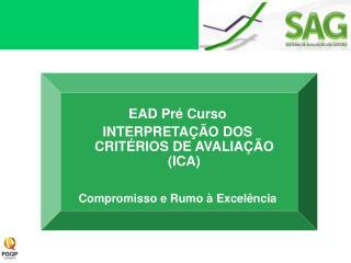 EAD Pré Curso INTERPRETAÇÃO DOS CRITÉRIOS DE AVALIAÇÃO (ICA) Compromisso e Rumo à Excelência