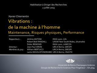 Vibrations : de la machine à l'homme Maintenance, Risques physiques, Performance