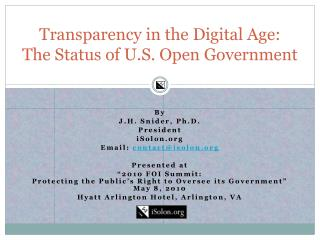 Transparency in the Digital Age:  The Status of U.S. Open Government