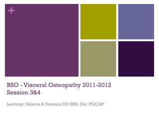 BSO - Visceral Osteopathy 2011-2012 Session 3&4