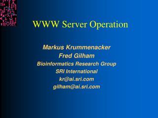 WWW Server Operation