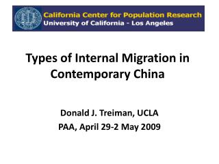 Types of Internal Migration  in Contemporary China