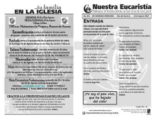 No .  401      XIX DOMINGO ORDINARIO       Mes del Servicio        12 de Agosto 2012