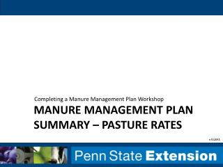 Manure management plan summary – pasture rates