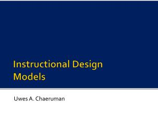 Instructional Design  Models