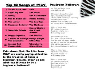 Top 10 Songs of 1967: