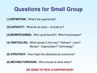 Questions for Small Group
