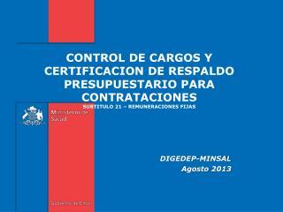 CONTROL DE CARGOS Y CERTIFICACION  DE RESPALDO PRESUPUESTARIO PARA CONTRATACIONES