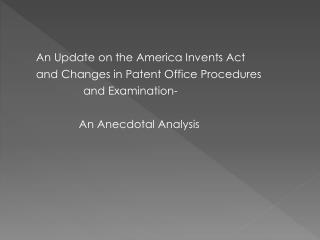 Leahy-Smith America Invents Act List of Changes