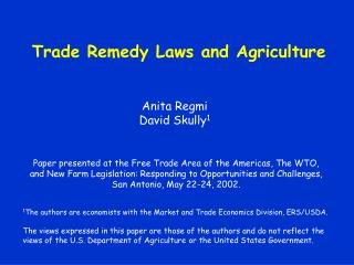Trade Remedy Laws and Agriculture