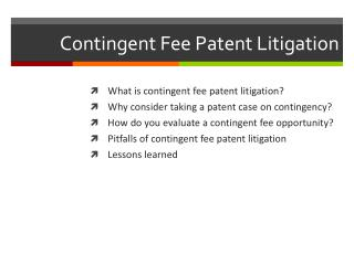 Contingent  Fee Patent Litigation