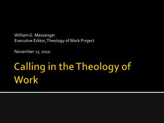 Calling in the Theology of Work