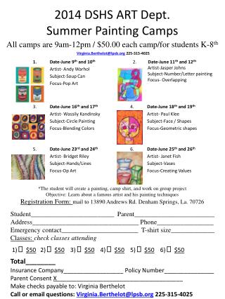 2014 DSHS ART Dept. Summer  Painting Camps