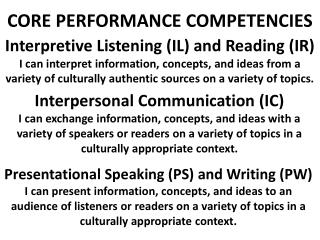 CORE PERFORMANCE COMPETENCIES