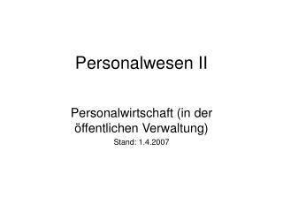 Personalwesen II