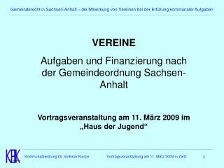 Gemeinderecht in Sachsen-Anhalt   die Mitwirkung von Vereinen bei der Erf llung kommunaler Aufgaben