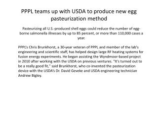 PPPL teams up with USDA to produce new egg pasteurization method