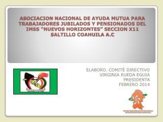 ELABORO. COMITÉ DIRECTIVO VIRGINIA RUEDA EGUIA PRESIDENTA  FEBRERO 2014