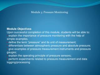 Module 3: Pressure Monitoring