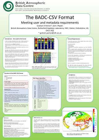The BADC-CSV Format Meeting user and metadata requirements Graham A Parton*, Sam J Pepler