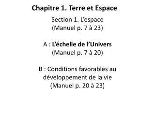 Chapitre  1. Terre et Espace