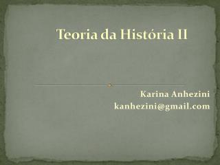 Teoria da História II