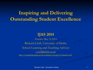 Inspiring and Delivering Outstanding Student Excellence