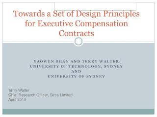 Towards a Set of Design Principles for Executive Compensation Contracts