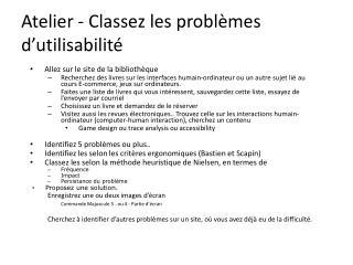 Atelier - Classez les probl�mes d�utilisabilit�