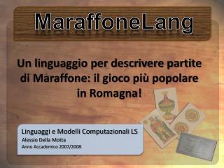 Linguaggi e Modelli Computazionali LS