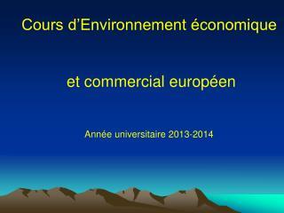 Cours d'Environnement économique  et commercial européen Année universitaire 2013-2014