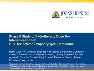 Phase II Study of Radiotherapy Dose De-Intensification for  HPV-Associated Oropharyngeal Carcinoma