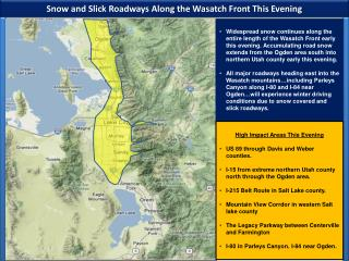 Snow and Slick Roadways Along the Wasatch Front This Evening