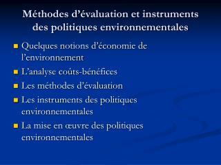M thodes d  valuation et instruments des politiques environnementales