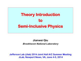 Theory Introduction to Semi-Inclusive Physics